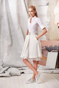 White Shirt and Cream Skirt