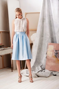 Light blue satin skirt