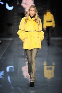 Yellow Colored fur for woman