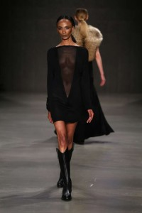 Cigdem Akin 2015-2016 Black Mini Transparent Dress