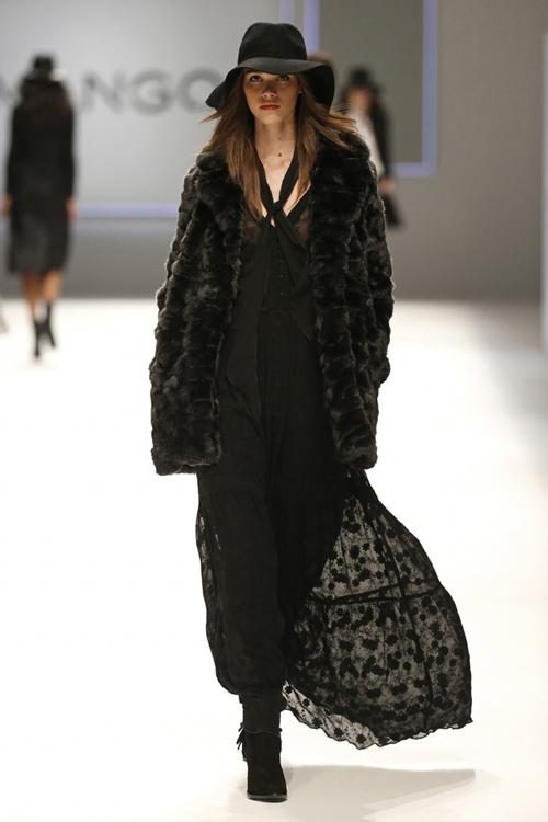 Mango Womens Fall Winter 2015 Black Coat Long Dress
