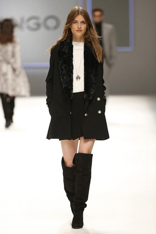 Mango Womens Fall Winter 2015 Black Coat Skirt