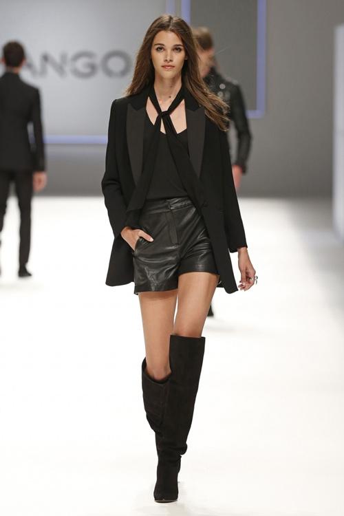 Mango Womens Fall Winter 2015 Black Leather Shorts