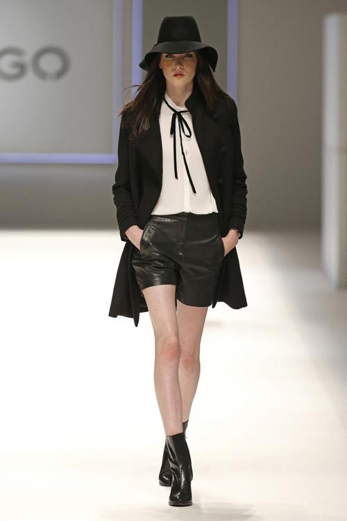 Mango Women Fall Winter-2015  Tie-neck Blouse – Black Shorts