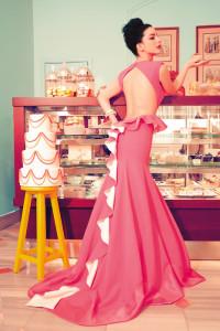 Sagaza Madrid Pink Low Cut Prom Dress