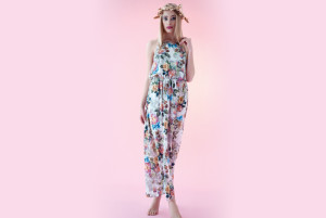 Gusto flowered overalls