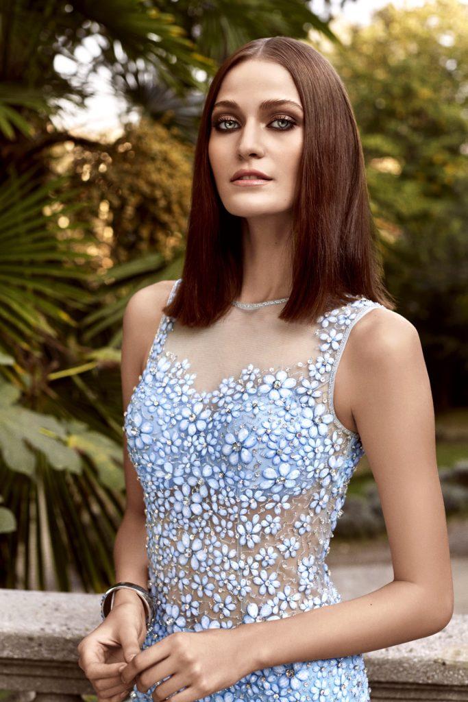 Alchera 2016 Blue Sheer Stone Embellished Dress