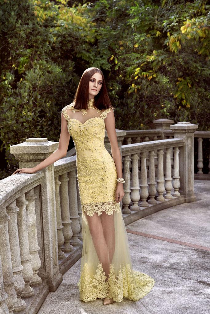 Alchera 2016 Lace Detailed Yellow Dress